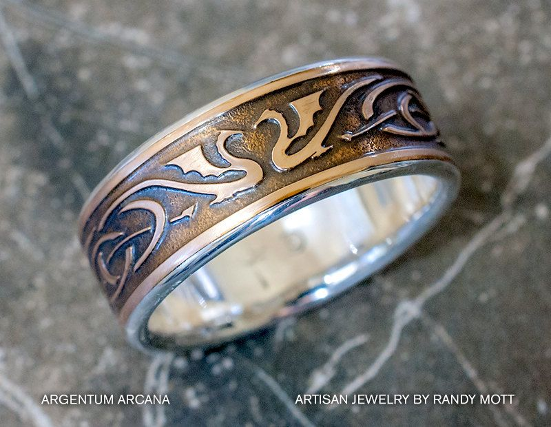 Mans Dragon Wedding Ring Silver Bronze Etched Wedding Ring
