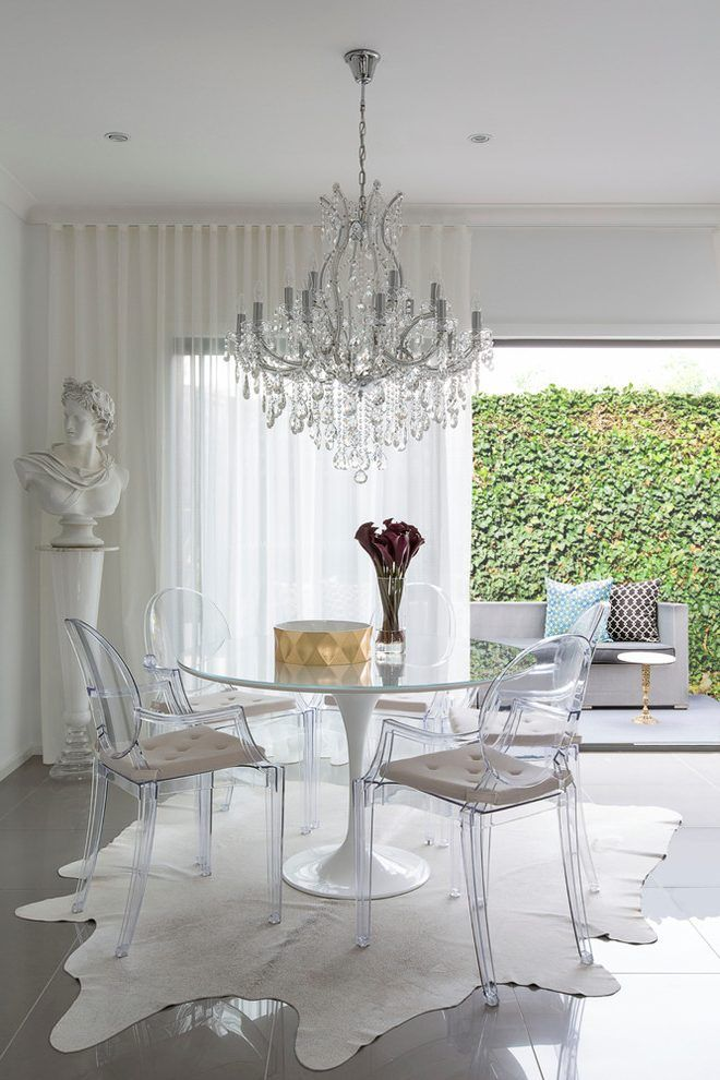 Ghost chair ikea dining room contemporary with ceramic tiles