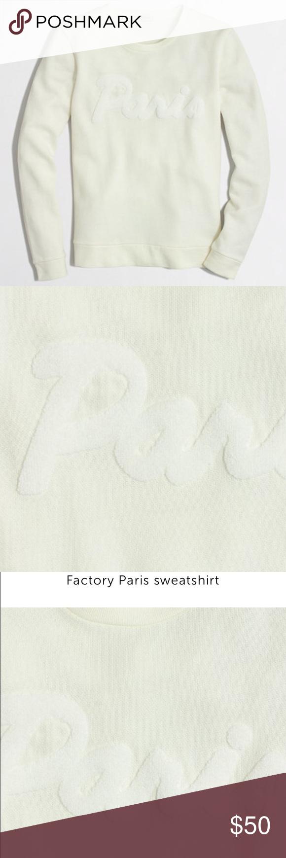 J. Crew white XXS crew neck Paris sweatshirt J. Crew white crew neck long sleeve cotton Paris sweatshirt. Made with soft stretchy cotton. In great condition. J. Crew Sweaters Crew & Scoop Necks