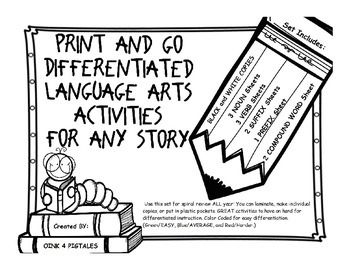 LANGUAGE ARTS PRINT AND GO DIFFERENTIATED ACTIVITIES