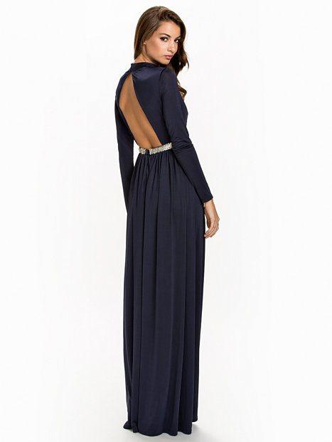 1ee48f2b6292 Soft Slit Open Back Dress - Nly Eve - Navy - Festklänningar - Kläder -  Kvinna