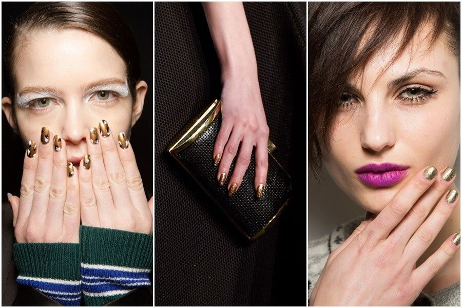 Gold nails trend fall 2015 by FTG http://www.fashiontogo-ftg.com ...