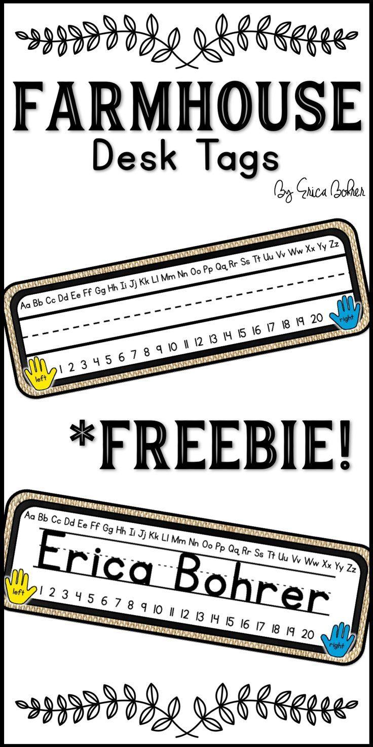 Student Desk Name Tags Farmhouse Freebie Desk Name Tags Chalkboard Classroom Classroom Decor Printable name plates for office