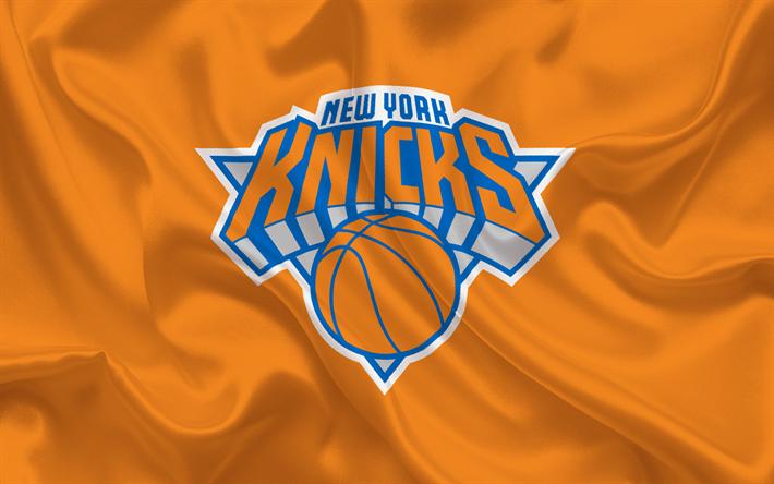 Herunterladen hintergrundbild new york knicks, nba, new york, usa, basketball, wappen, logo, rote seide, basketball club, orange-seide