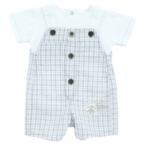 d8d75841f Absorba Baby Boy Blue Check Dungaree | Liam's Closet | Designer baby ...