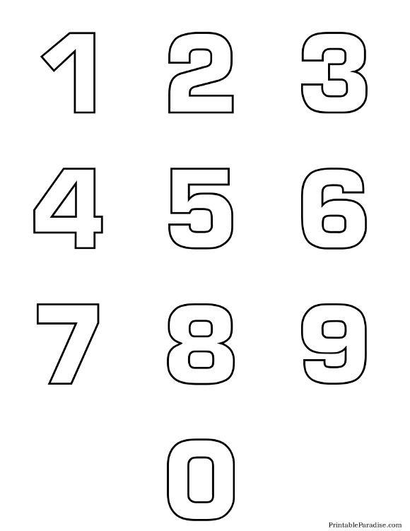 Printable Number Outlines 0 9 on One Page Montessori and