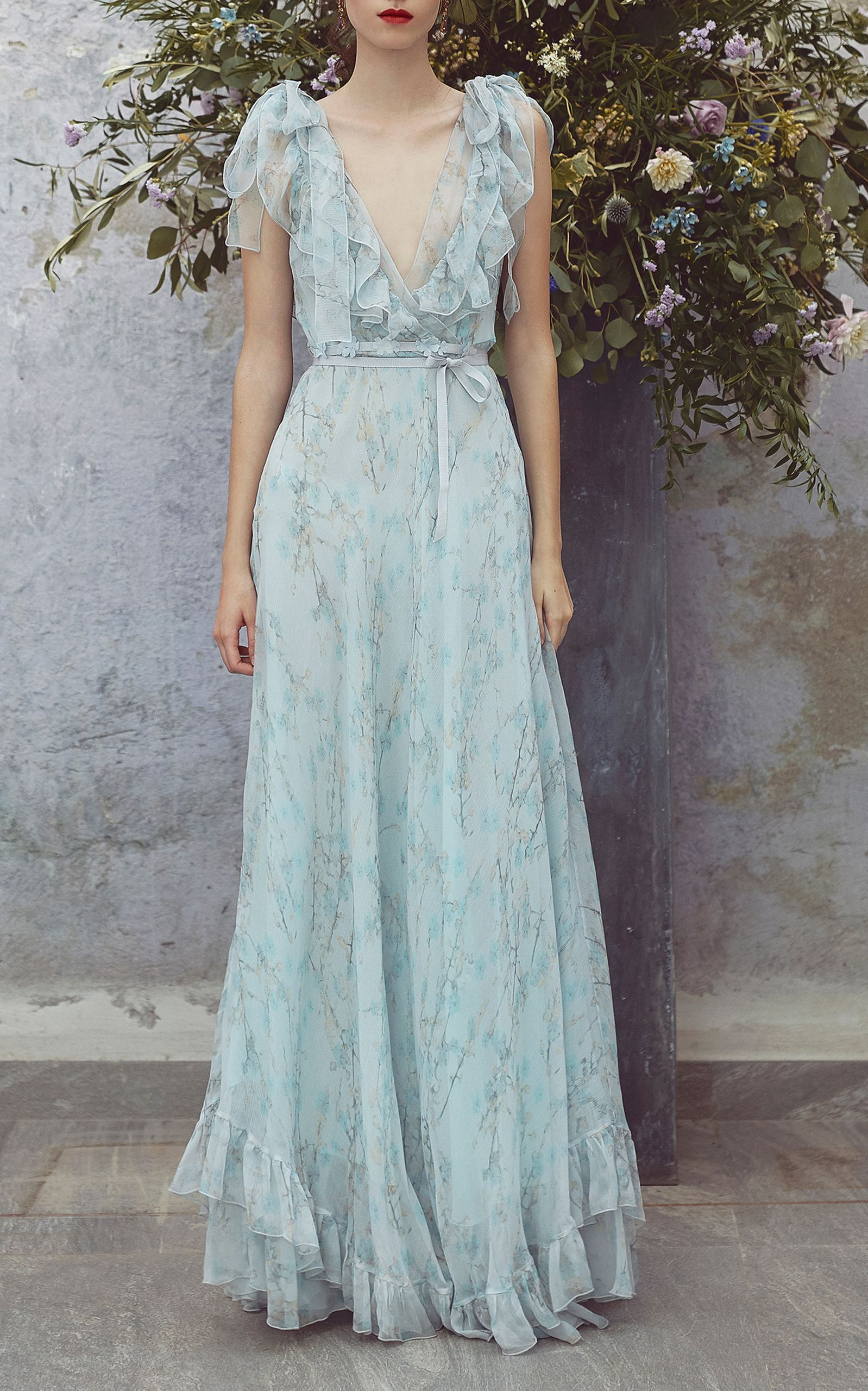 Printed Full Length Dress by LUISA BECCARIA for Preorder on Moda ...