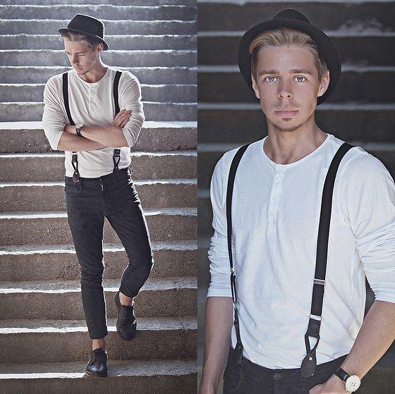 Edgar Vanuska - H&M White Long Sleeve Top, Aeon Black Leather Watch,  Primark Black