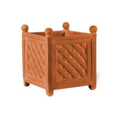 """Amedeo Design ResinStone Square Lattice Planter Size: 18"""" H x 17"""" W x 17"""" D, Color: Terra Cotta, Drain Hole: No Drain Hole"""