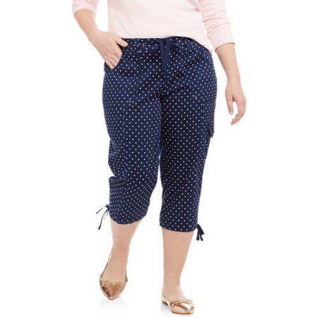 58b02ad477 Plus Size Faded Glory Women's Plus Cargo Capri Pant, Size: 20W, Multicolor