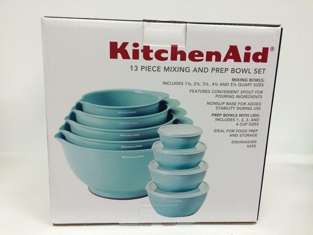 Kitchenaid 13 piece mixing and prep bowl set aquateal new