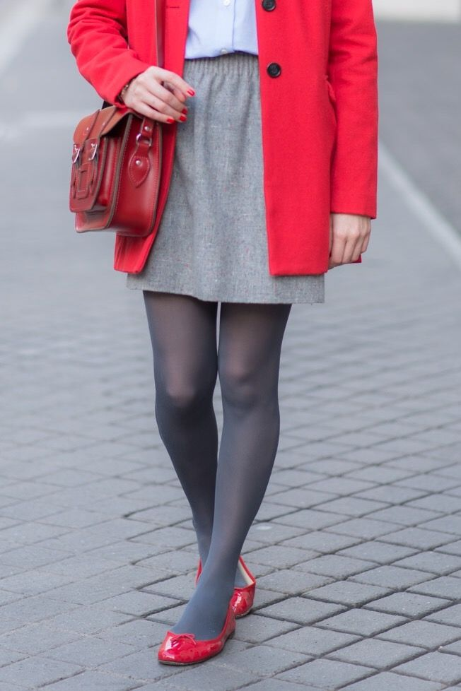 4ea0a17ebfb98 Grey opaque Pantyhose Outfits, Black Pantyhose, Tights Outfit, Nylons,  Coloured Tights,