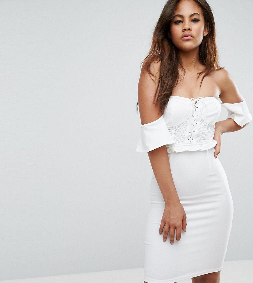 Naanaa Tall Off Shoulder Corset Detail Mini Dress White White Cocktail Dress White Mini Dress White Bodycon Dress [ 972 x 870 Pixel ]