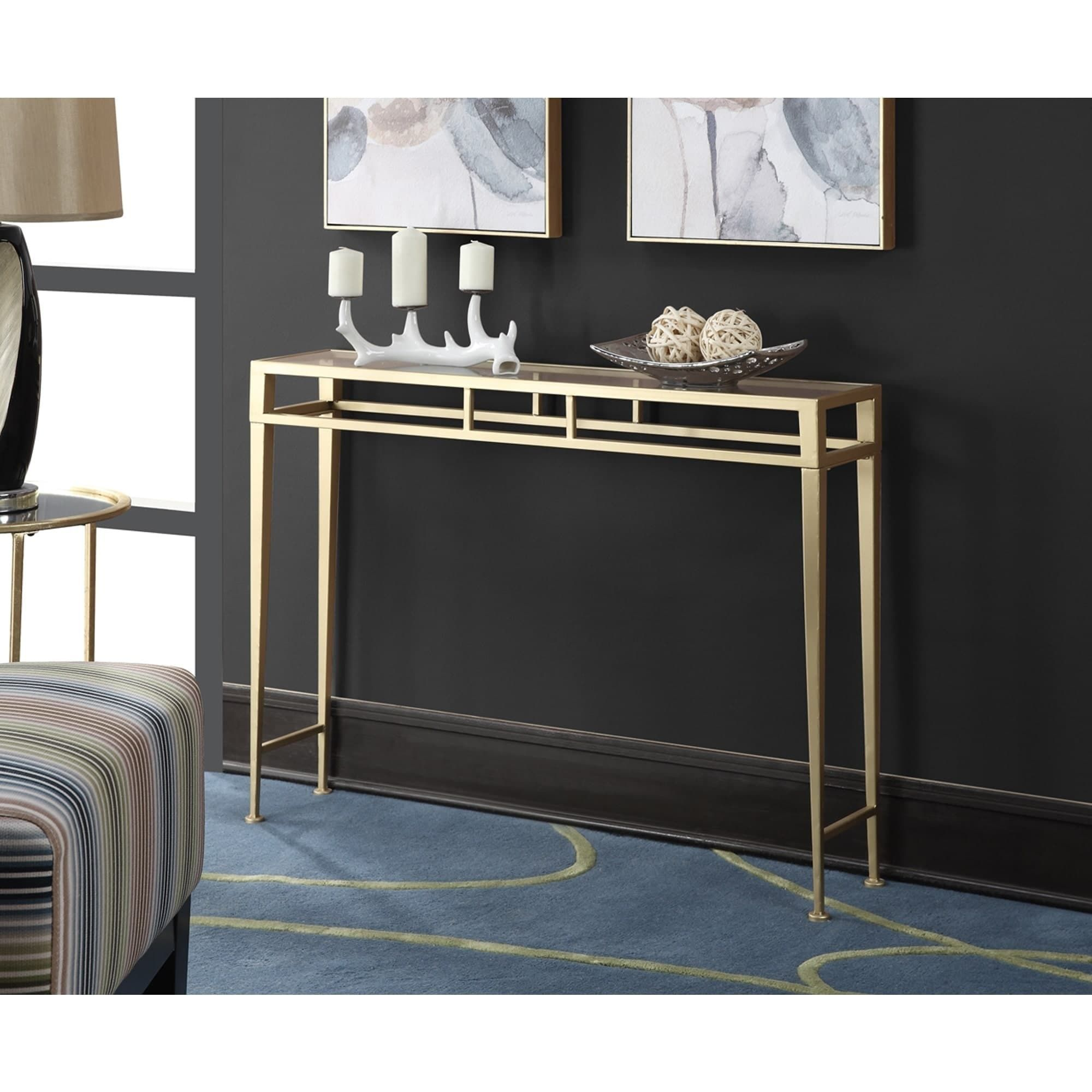 Silver Orchid Grant Hall Iron And Glass Console Table Hall Console Table Glass Console Table Console Table