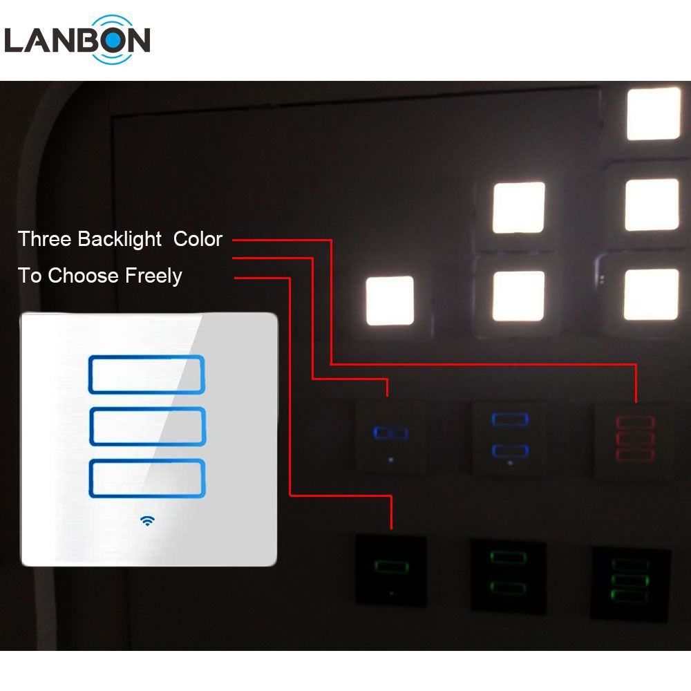Lanbon New Arrival Smart Home Automation 3 Gang 2 Gang 1 Way 2 Way Wifi Smart Switch In Wall App Remote Touch Light Switch Buy Smart Home Automation 1 Way 2 W