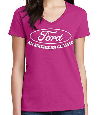 (eBay Ad) Big white Ford logo Ladies V- Neck T-shirt An American Classic Car Tee…