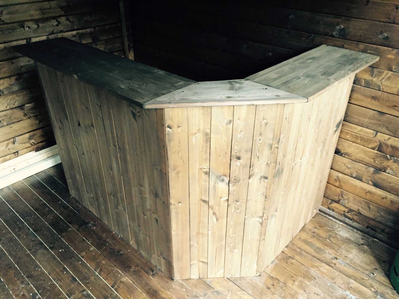 DIY home bar with pine cladding | Pub Shed | Pinterest