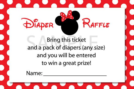 Printable Minnie Mouse Diaper Raffle Ticket For A Cute Baby Shower