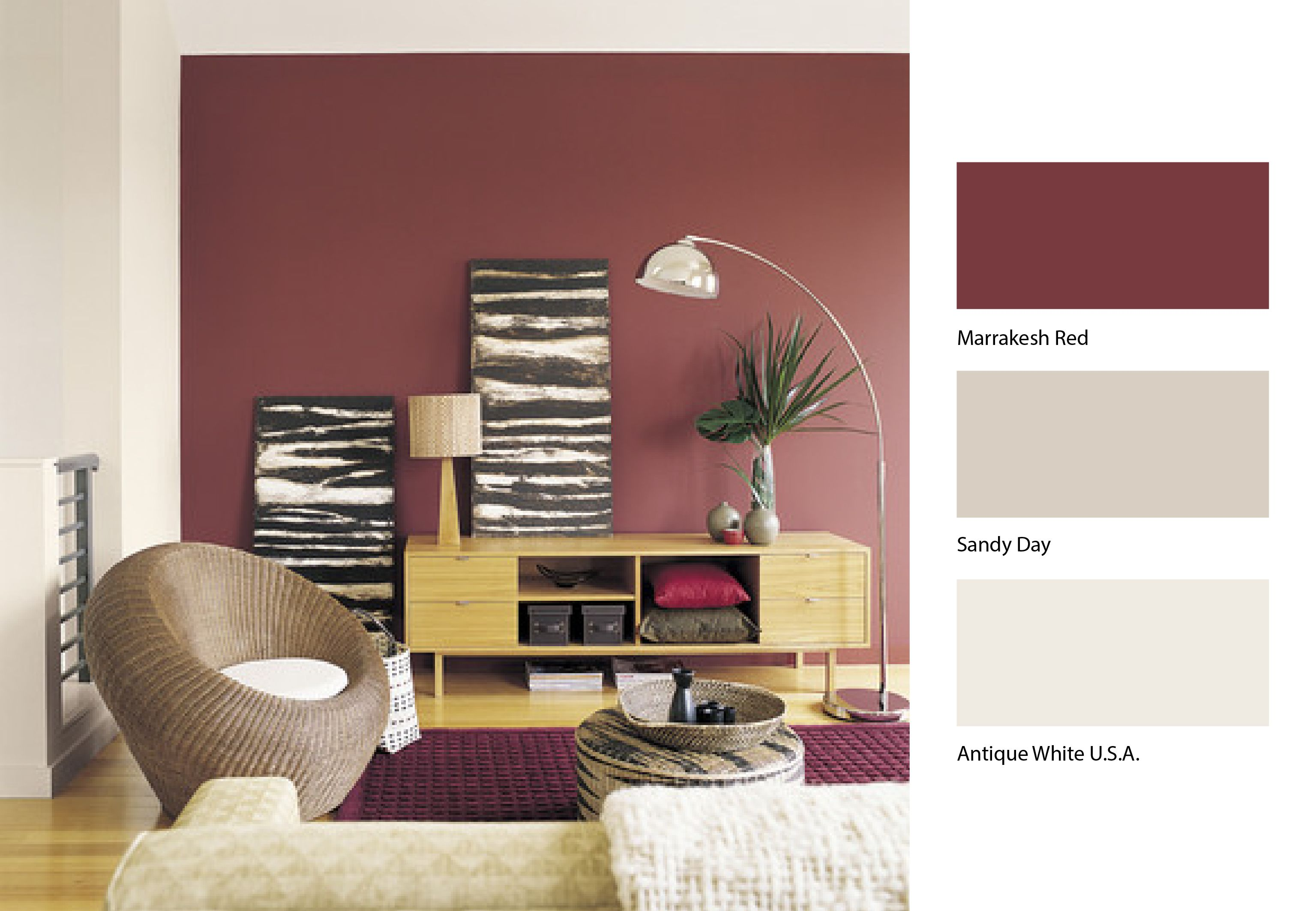 Looking for a killer combination for your living room may we suggest dulux marrakesh red and - How we paint your room ...
