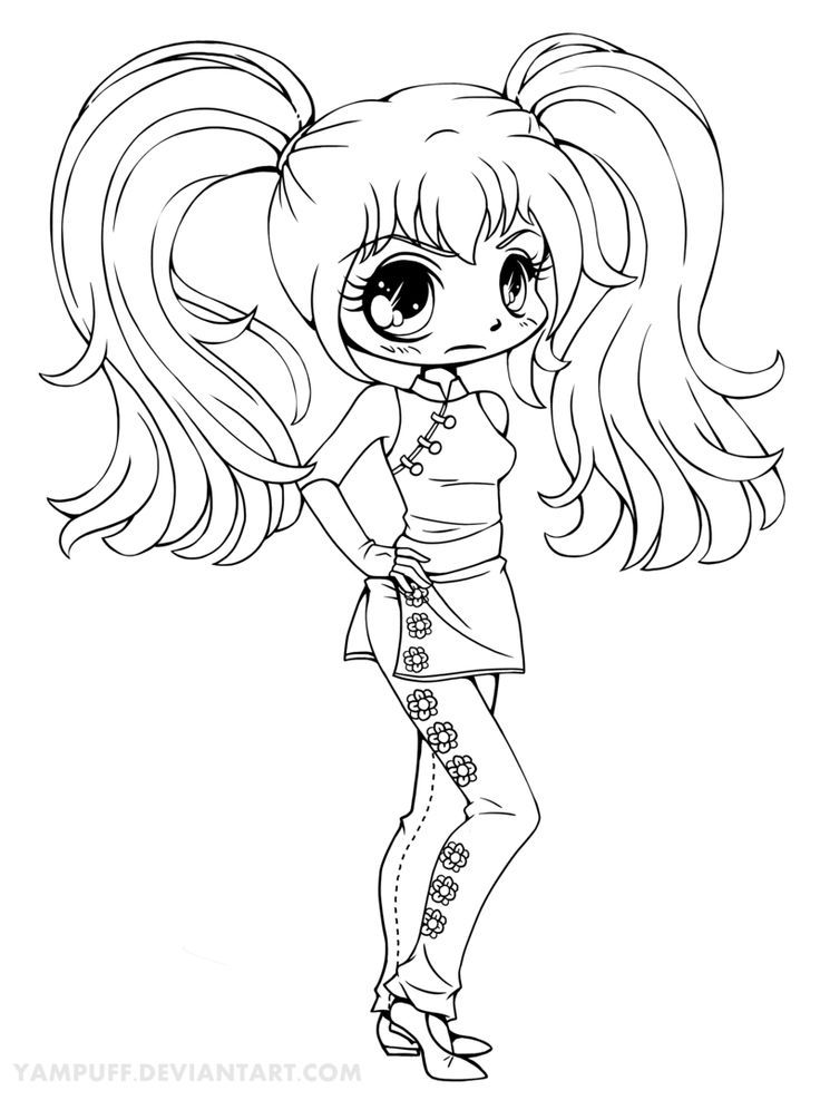 Kaylayla Chibi Lineart Commission By YamPuff