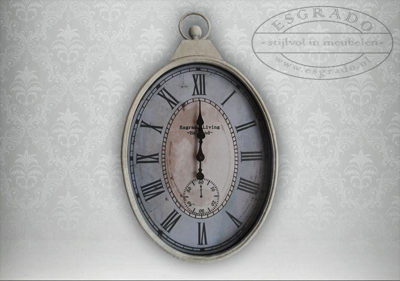 Brocante Spiegel Ovaal : Brocante klok ovaal. grote ovale klok in landelijke stijl. stoere