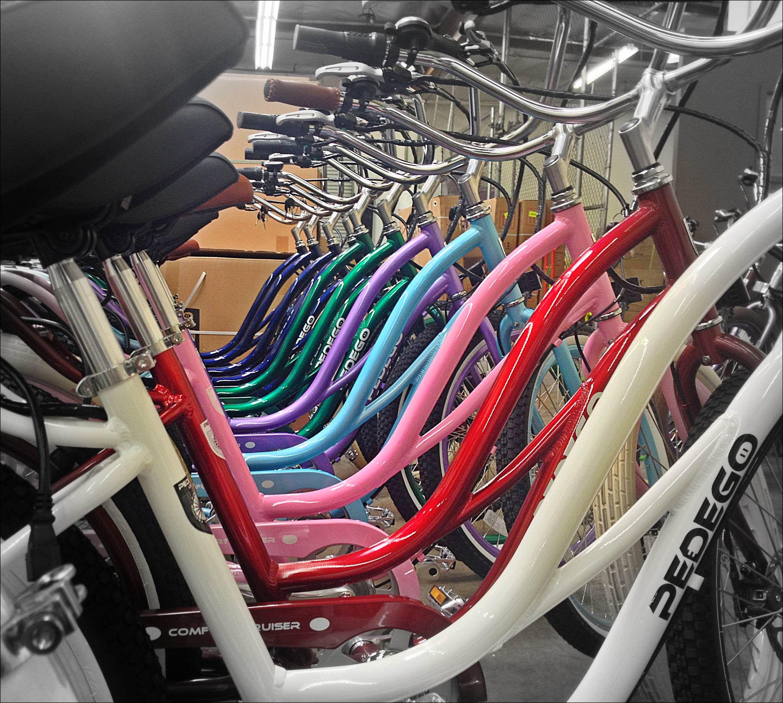 And Assortment Of Step Thru Cruisers Hellofun Rainbow Pedego Electricbike Bike Brands Electric Bike Bike