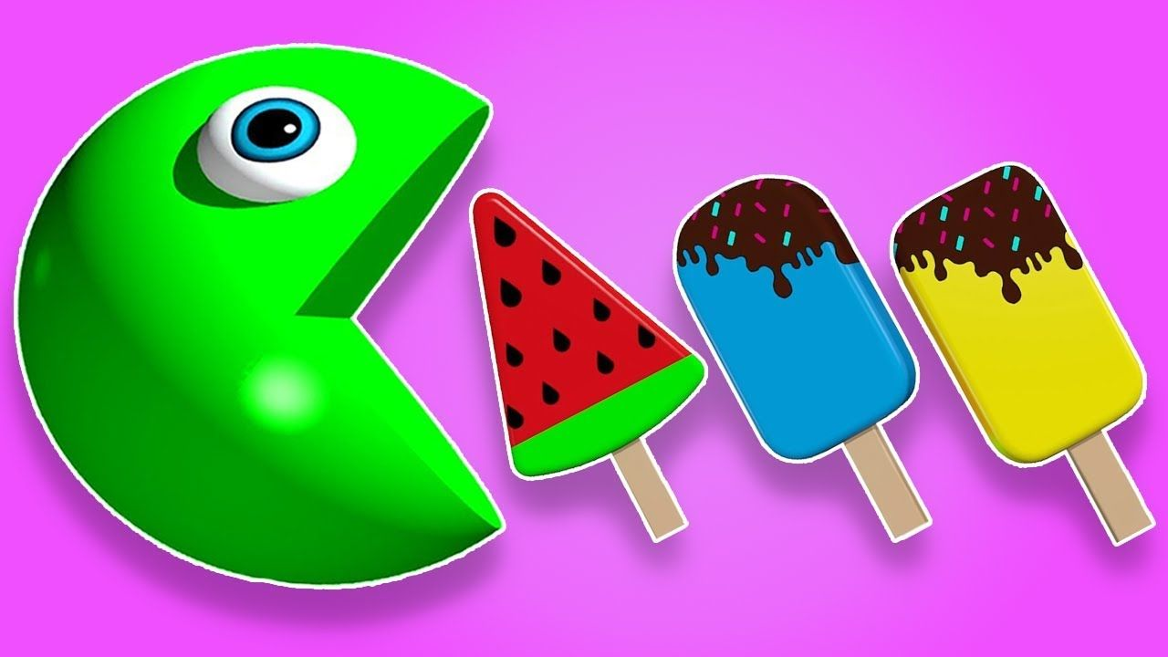 Learn Colors with Pacman Ice Cream for Kids Children Toddlers Babies ...
