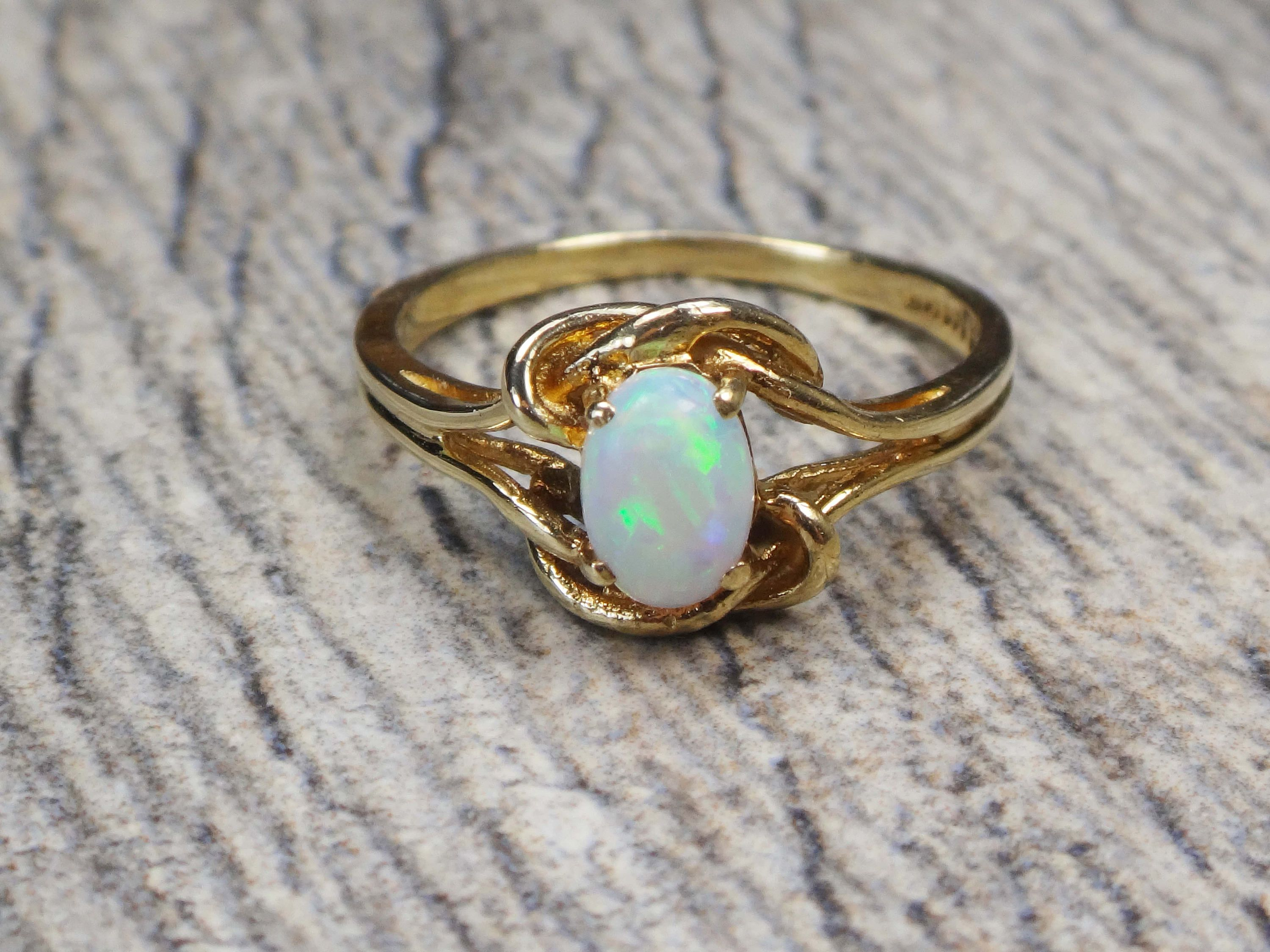 Vintage 10k Gold Opal Ring Opal Twist Ring 10k Yellow Gold Etsy Opal Ring Gold Opal Rings Natural Opal Ring