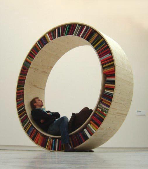 Circular Bookshelf  by David Garcia: Walk in the wheel to turn it!
