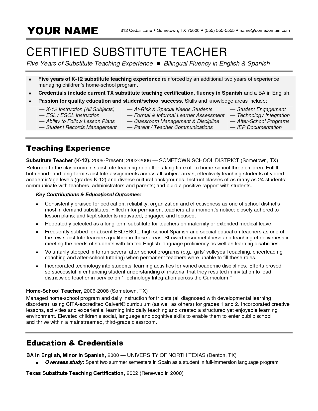substitute teacher resume examples best business template job description for professional