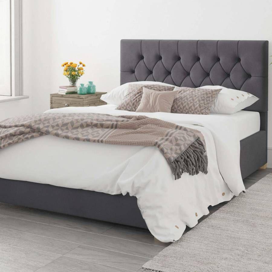 Aspire Furniture Olivier Plush Velvet Ottoman Bed Steel Small