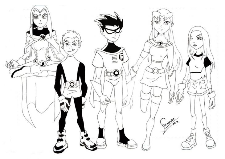 Young Justice Printable Best Of Coloring Pages: Teen Titans Line Art Coloring Page Free Printable