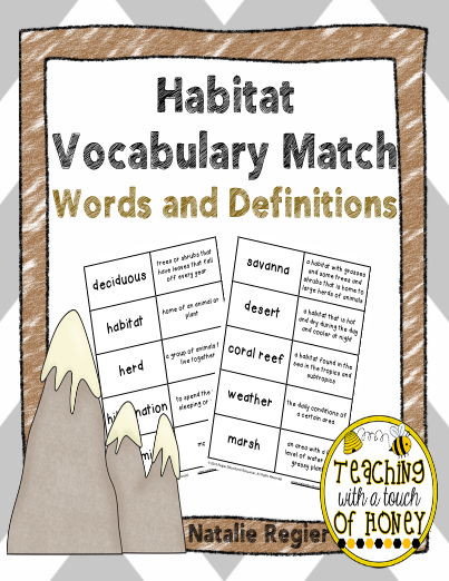 Habitat Vocabulary Match Words And Definitions Editableprintables Freeprintables Elementary Reading Classroom Lessons Classroom Material
