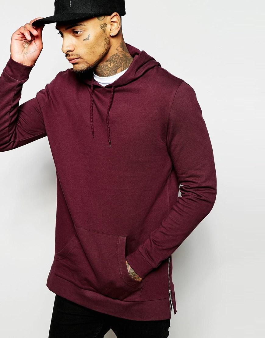 ASOS | ASOS Longline Hoodie With Side Zips In Burgundy at ASOS