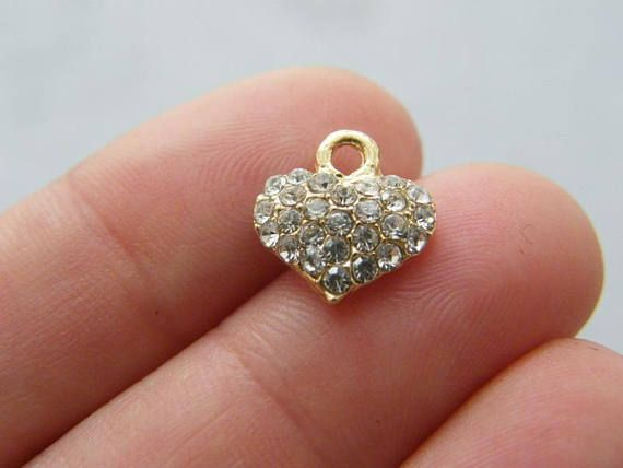 2 Heart rhinestone charms gold tone GC317