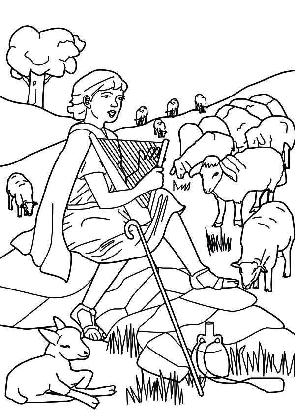 David The Shepherd Boy Beautiful Voice Coloring Pages
