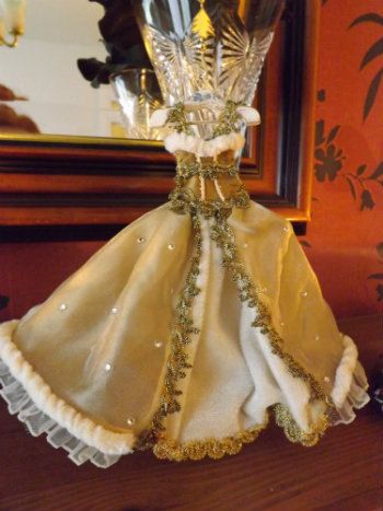 Made to order...Miniature 12th scale Christmas gown for display on hanger