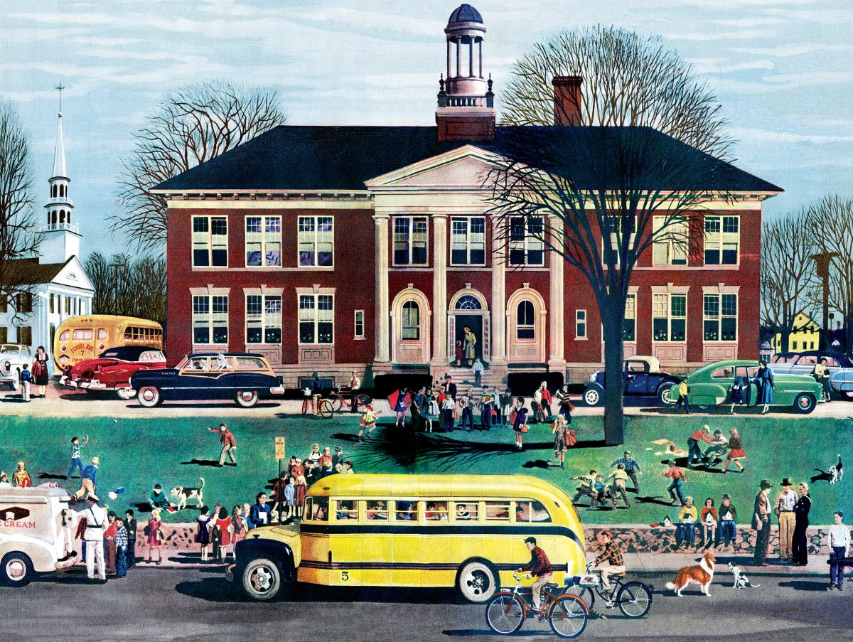 School House 1950 Gm Annual Report General Motors 1000 Pieces New York Puzzle Co Puzzle Warehouse Old School House Homeschool Jigsaw Puzzles