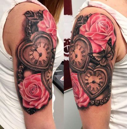 40 Ideas Tattoo Shoulder Clock Roses