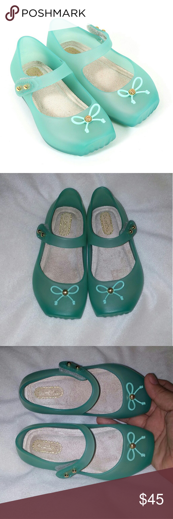 Mini Melissa Mint velcro shoes Brand new, never used. Threw the box away because I planned to keep the shoes but forgot about them and don't fit my baby anymore. Runs true to size and comfortable for wide feet. Offers welcome :) Mini Melissa Shoes