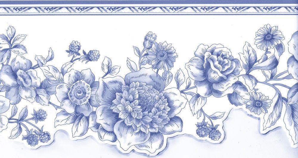 Blue White Floral Sculptured WALLPAPER BORDER. Length 15