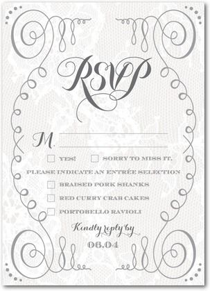 Sumptuous Swirls Signature White Wedding Response Cards Marchesa