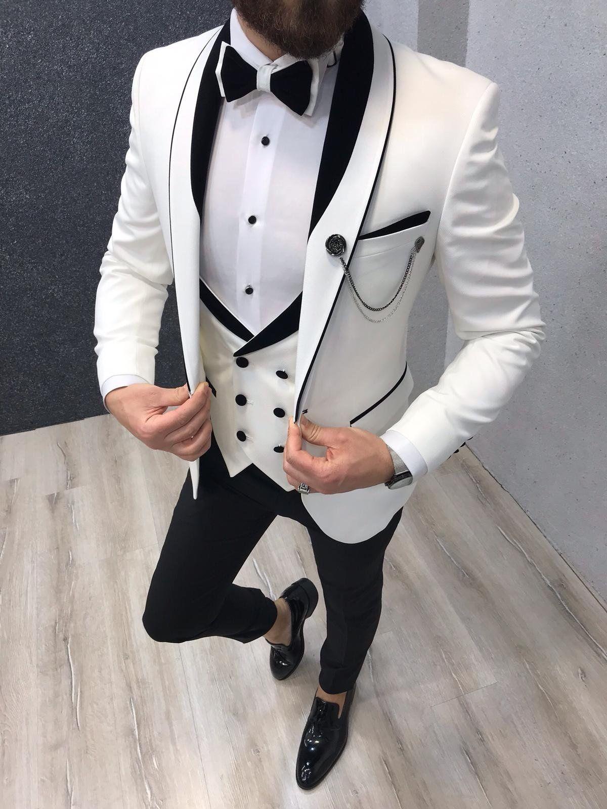 Lazio white tuxedo suit brabion white wedding suit