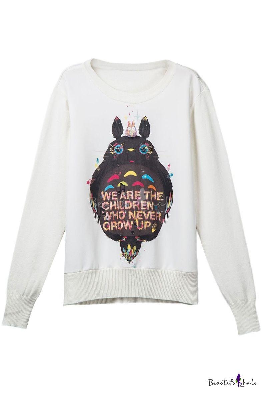 White Cartoon Print Long Sleeve Round Neck Sweatshirt Round Neck Sweatshirts Sweatshirts Harajuku Sweatshirt [ 1179 x 786 Pixel ]