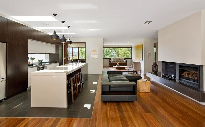 Contemporary Living Room By Roth Architecture House Flooring Kitchen Flooring Wood Tiles Design