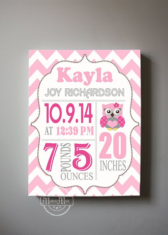 Personalized baby birth announcement canvas for any childs room muralmax custom unique birth announcements for girls chevron owl nursery baby decor make your new baby gifts memorable color pink aqua canvas negle Gallery