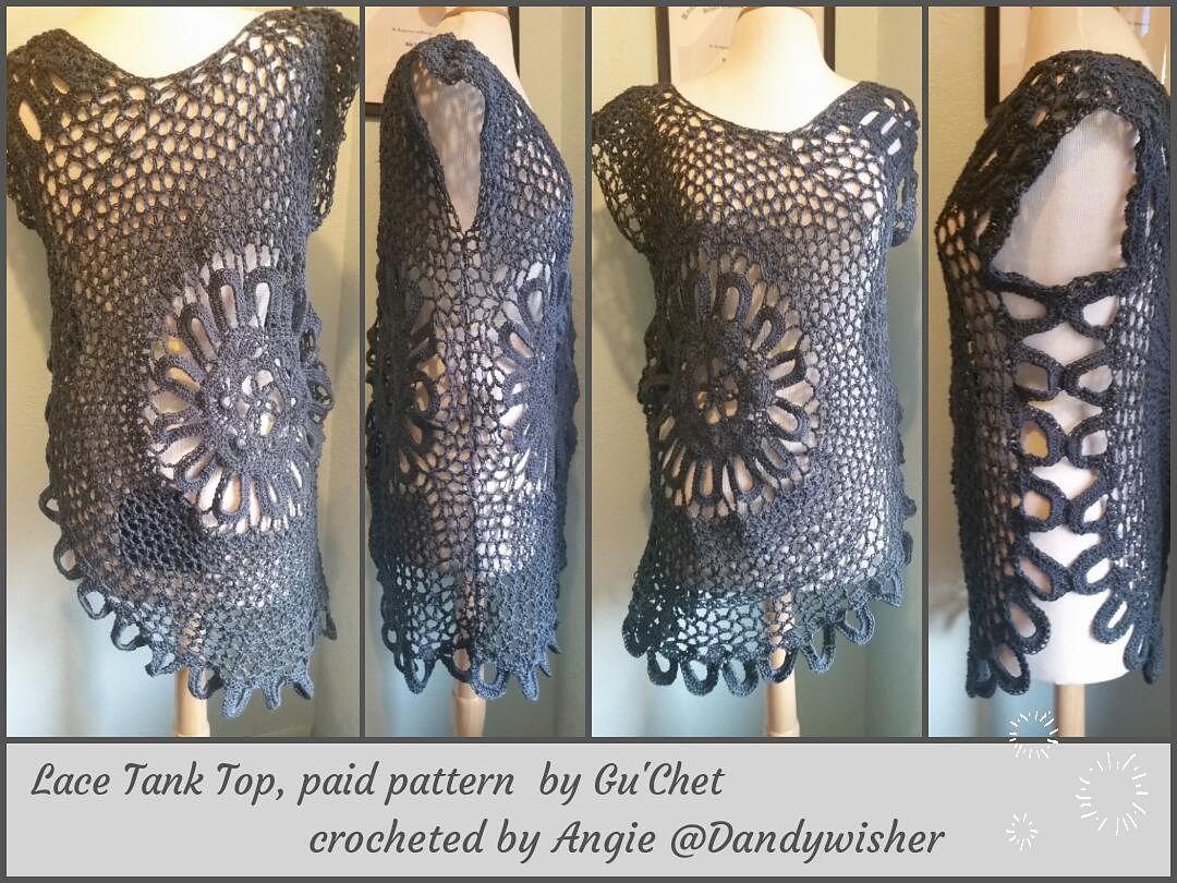 Lace Tank Top (Plus Size) pattern by Gu\'Chet | Blusen und Häkeln
