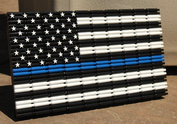Thin Blue Line Flag Out Of 223 Brass Police Law Enforcement American Flag Bullets American Blue Rustic American Flag Thin Blue Line Flag Bullet Crafts
