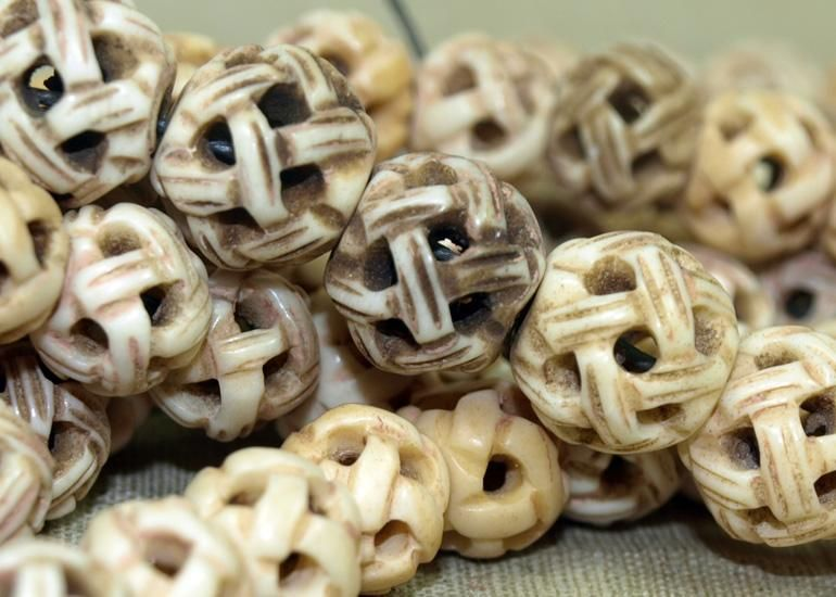 Strand Of Hand Carved Bone Beads Lou Zeldis Component Collection Bone Beads Bone Carving Carving