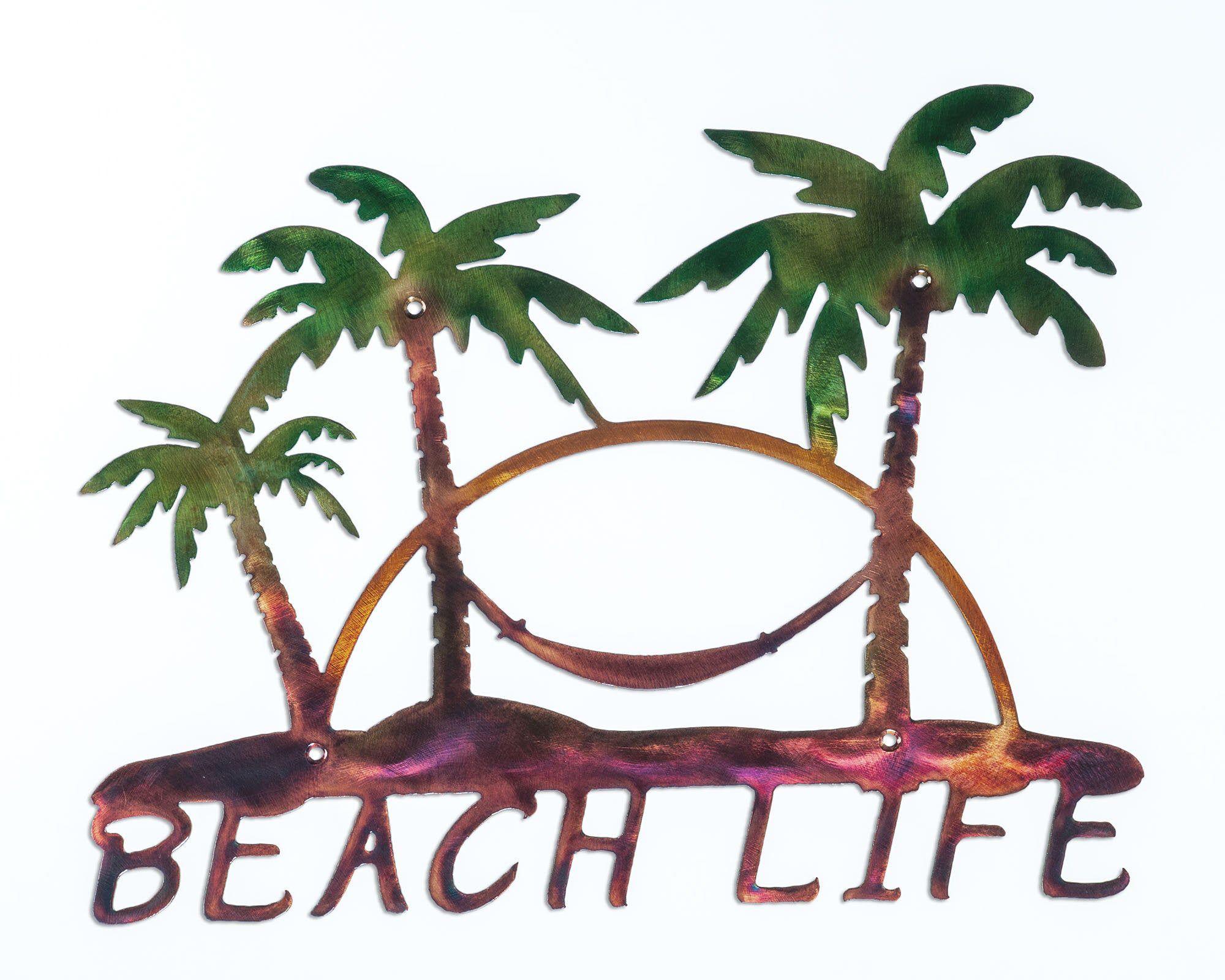 Beach Life Palm Trees Hammock Nautical Metal Indoor Or Outdoor Wall Art In 2020 Palm Tree Wall Art Outdoor Wall Art Palm Trees